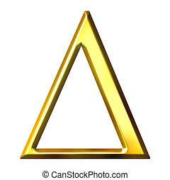 dorado, griego, 3d, carta, delta