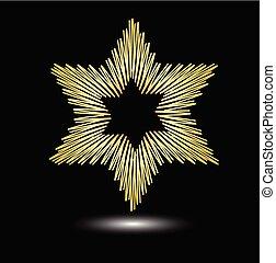 dorado, grunge, symbole, fondo., judío, luz, moderno, aislado, negro, elegante, simplemente, david, religión, efecto, estilo, estrella, dibujo, design.