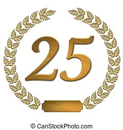 dorado, guirnalda, laurel, 25