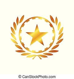 dorado, héroe, trabajando, símbolo, diseño, logotipo,...