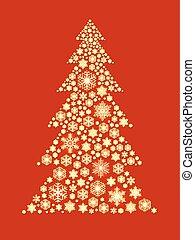 dorado, hecho, copos de nieve, árbol, fondo., forma, navidad, rojo