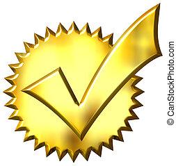 dorado, hecho tictac, 3d, sello