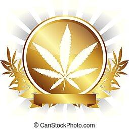 dorado, hoja, marijuana, cannabis, vector, diseño, insignia