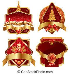 dorado, holyday, símbolos, vector, florido, marcos, navidad