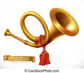 dorado, horn., vector, trumpet., icono