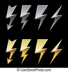 dorado, iconos, cromo, aislado, relámpago, fondo., negro