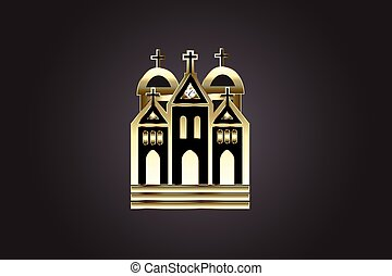 dorado, iglesia, icono, logotipo