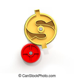 dorado, illustration., símbolo dólar, engranaje, 3d