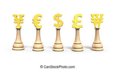 dorado, illustration., símbolomonetario, moneda, ajedrez, 3d