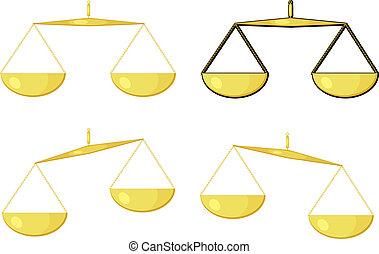dorado, ilustración, escalas