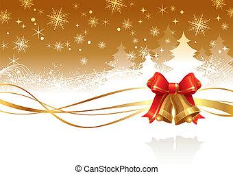 dorado, ilustración, mano, vector, campanas de navidad