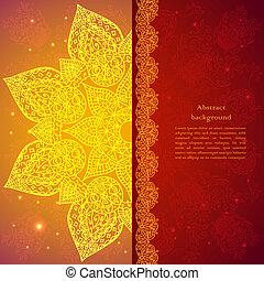 dorado, indio, étnico, fondo.