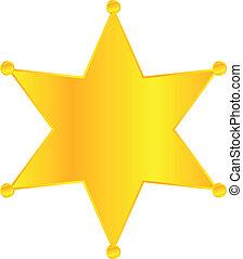 dorado, insignia, estrella, alguacil
