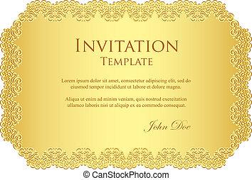 dorado, invitación, frontera, encaje, lujo