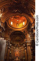 dorado, jesuita, italia, dentro, cúpula, roma, iglesia, gesu