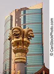 dorado, jing, cima, shanghai, techo, leones, china, templo