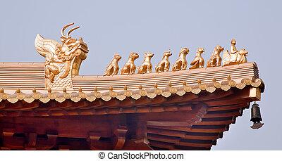 dorado, jing, estatuillas, cima, shanghai, techo, china,...