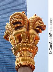 dorado, jing, shanghai, leones, china, templo
