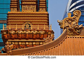 dorado, jing, shanghai, oro, tranquilidad, cima, budista,...