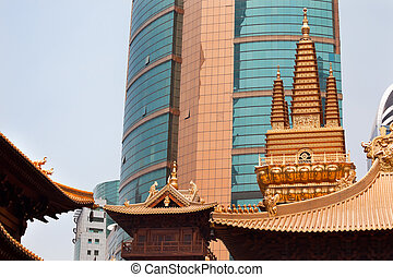 dorado, jing, templos, cima, shanghai, techo, china, templo