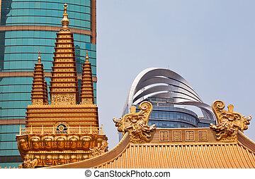 dorado, jing, templos, cima, shanghai, techo, dragones,...