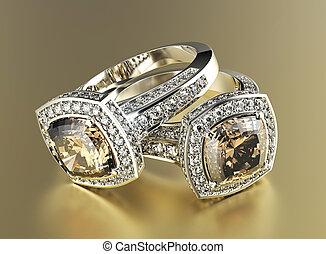 dorado, joyas, diamond., compromiso, coñac, plano de fondo, anillo