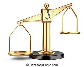 dorado, justicia, médico, o, escalas