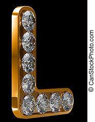 dorado, l, carta, incrusted, con, diamantes