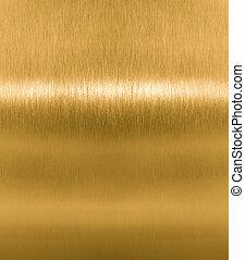 dorado, latón, metal, o, textura