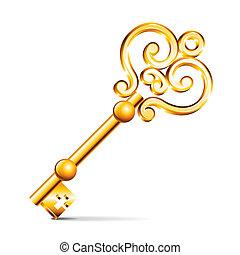 dorado, llave, aislado, blanco, vector