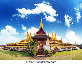 dorado, luang, phra, pagoda, señal, laos, wat