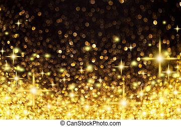 dorado, luces de navidad, y, estrellas, plano de fondo
