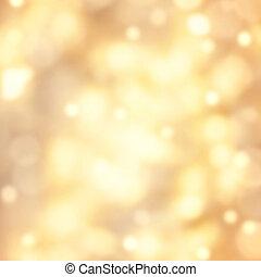 dorado, luces, resumen, festivo, fondo., bokeh, defocused, plano de fondo, navidad