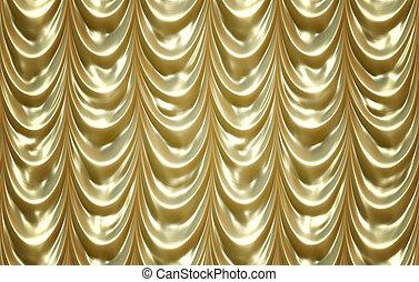 dorado, lujoso, cortinas