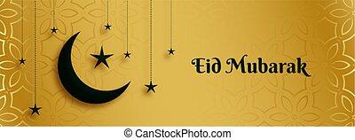 dorado, luna, mubarak, estrella, eid, bandera