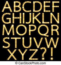 dorado, luz, broadway, bombilla, alfabeto