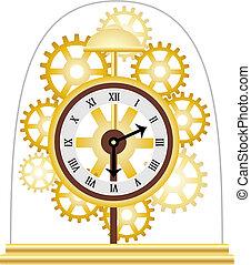 dorado, múltiplo, esqueleto, reloj, vector, engranajes