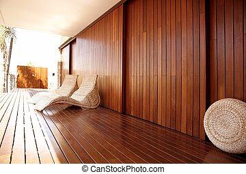 dorado, madera, balneario, hamaca, al aire libre, casa