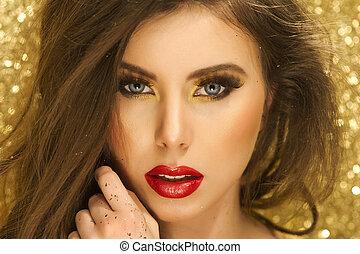 dorado, magia, Maquillaje, oro, retrato, niña
