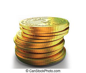 dorado, marca, coins, pregunta, ilustración, digital, pila, 3d