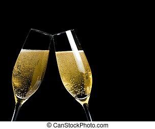 dorado, marca, dos, aclamaciones, fondo negro, burbujas, flautas champaña