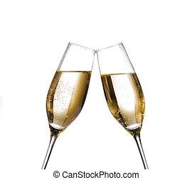 dorado, marca, dos, aclamaciones, plano de fondo, burbujas, champaña, blanco, flautas