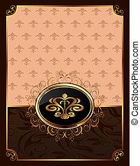 dorado, marco, emblema, florido