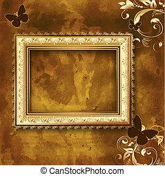 dorado, marco, en, el, grunge, pared