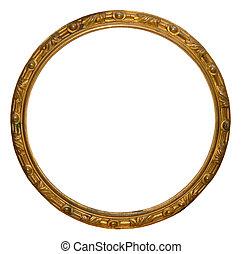 dorado, marco, hechaa mano, aislado, redondo, vacío