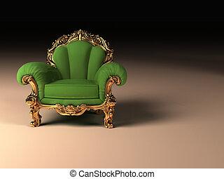 dorado, marco, moderno, real, sillón