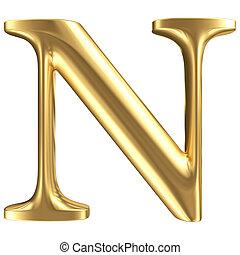 dorado, mate, carta n, joyería, fuente, colección