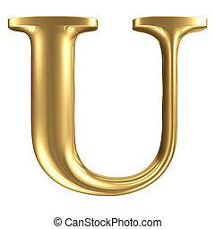 dorado, mate, carta, u, joyería, fuente, colección