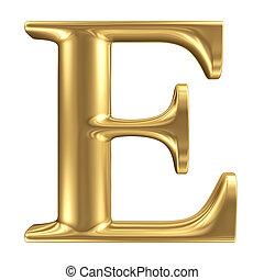 dorado, mate, letra e, joyería, fuente, colección