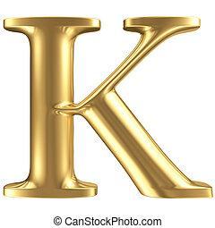 dorado, mate, letra k, joyería, fuente, colección